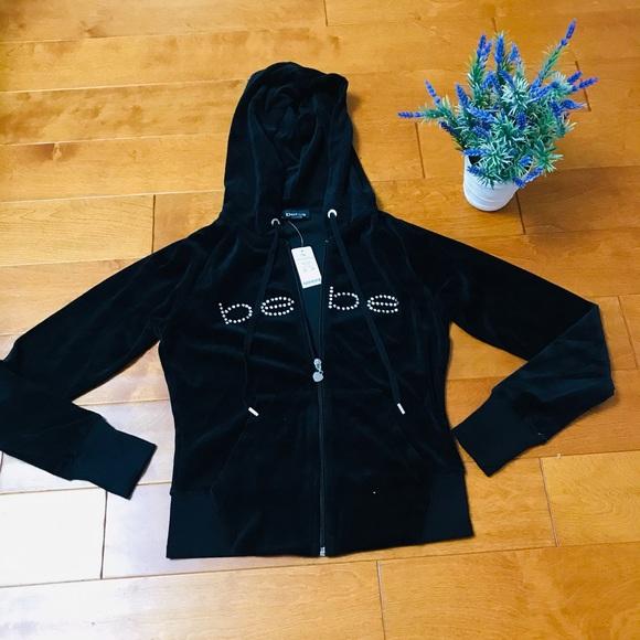 Bebe rhinestone logo velour hoodie M